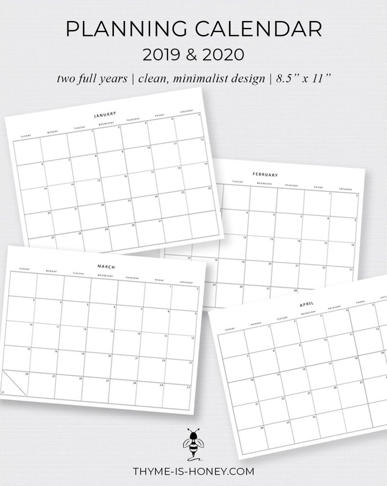 2019 2020 Printable Planning Calendars 11 X 8.5 | Etsy throughout Printable 8.5 X 11 2020 Calendar