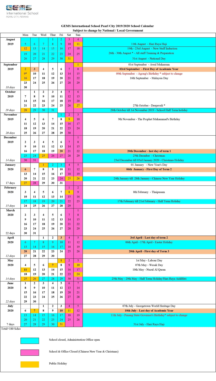 2019/2020 School Calendar - Gems International School | Pearl City with regard to Malaysia 2020 Calendar