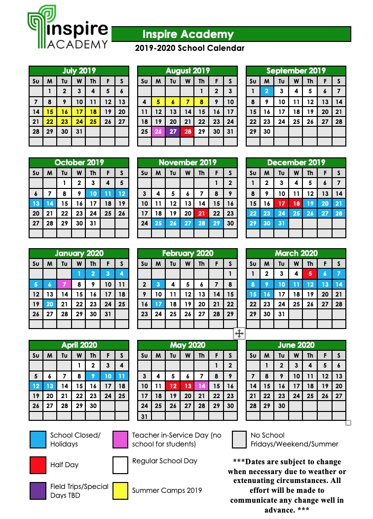2019-2020 School Calendar — Inspire Academy pertaining to Calendar With All The Special Days In 2020