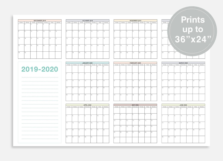 2019-2020 School Calendar September 2019 June 2020 School   Etsy pertaining to Year At A Glance 2019-2020 School Calendar