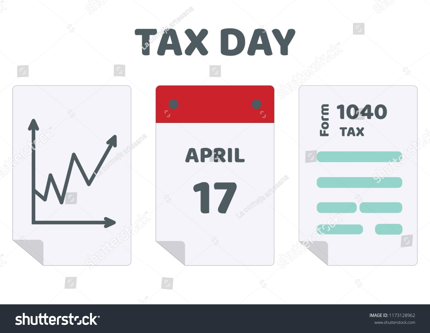 2019 2020 Tax Day Reminder Calendar Stock Vector (Royalty Free with regard to 2019-2020Tax Calendar Month And Week