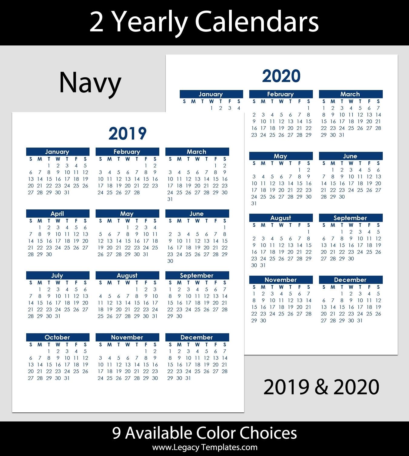 2019 & 2020 Yearly Calendar – 8.5 X 11 | Legacy Templates for 2020 Calendar 8.5 X 11