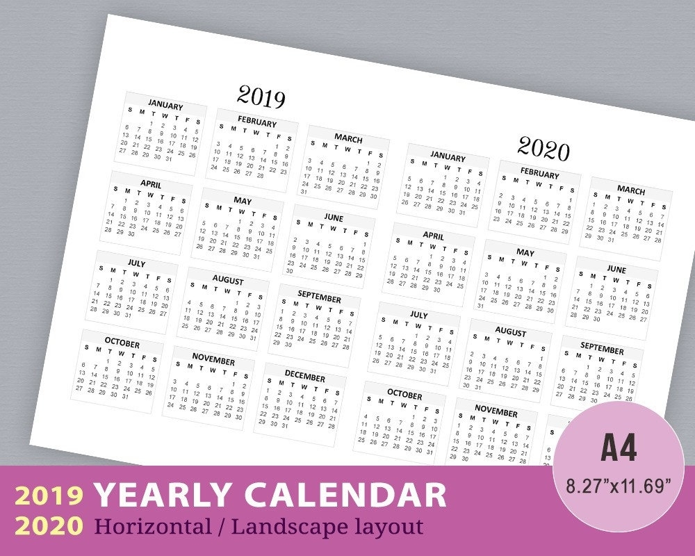 2019-2020 Yearly Calendar Year At A Glance Wall Calendar | Etsy with regard to 2020 Wall Calendar Kikki K