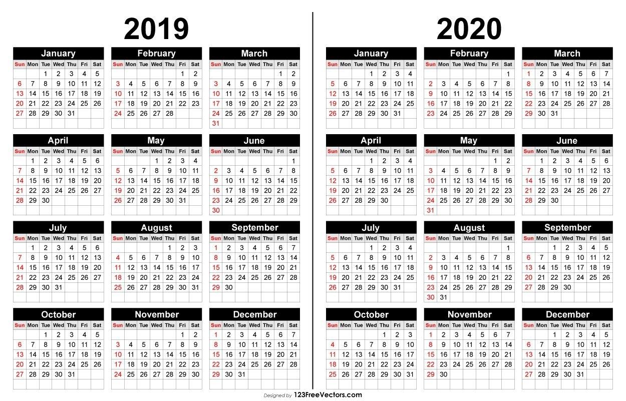 2019 And 2020 Calendar Printable | 2019 Calendar | Calendar 2020 for Calendar April 2019 Thru April 2020, Printable