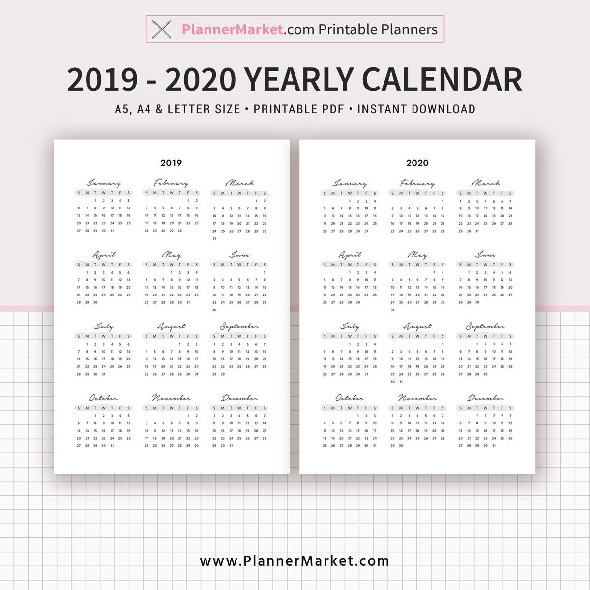 2019 Calendar, 2020 Calendar, Yearly Calendar, Filofax A5, A4 inside Printable 8.5 X 11 2020 Calendar