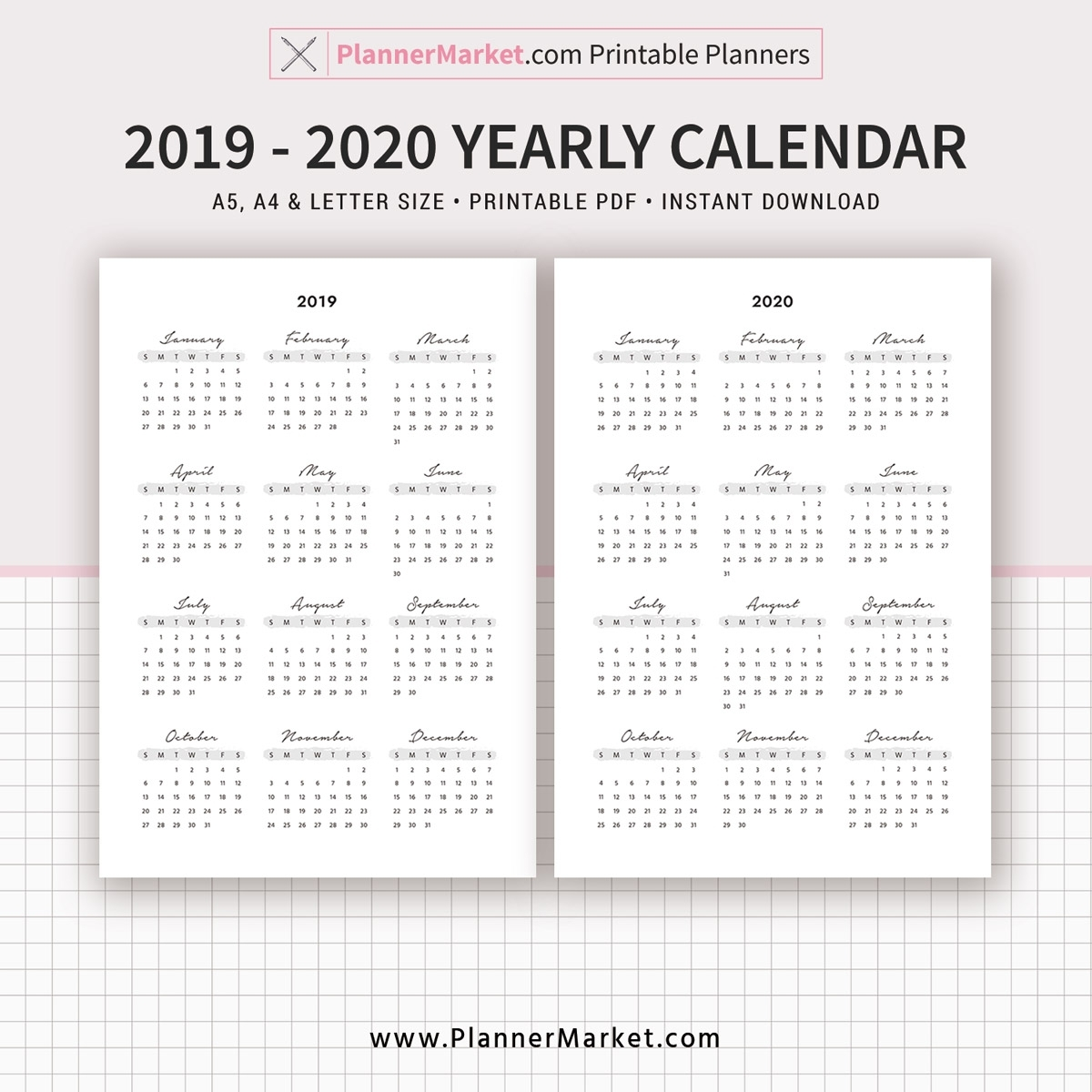 2019 Calendar, 2020 Calendar, Yearly Calendar, Filofax A5, A4 pertaining to A4 Yearly Calendars For 2019 And 2020