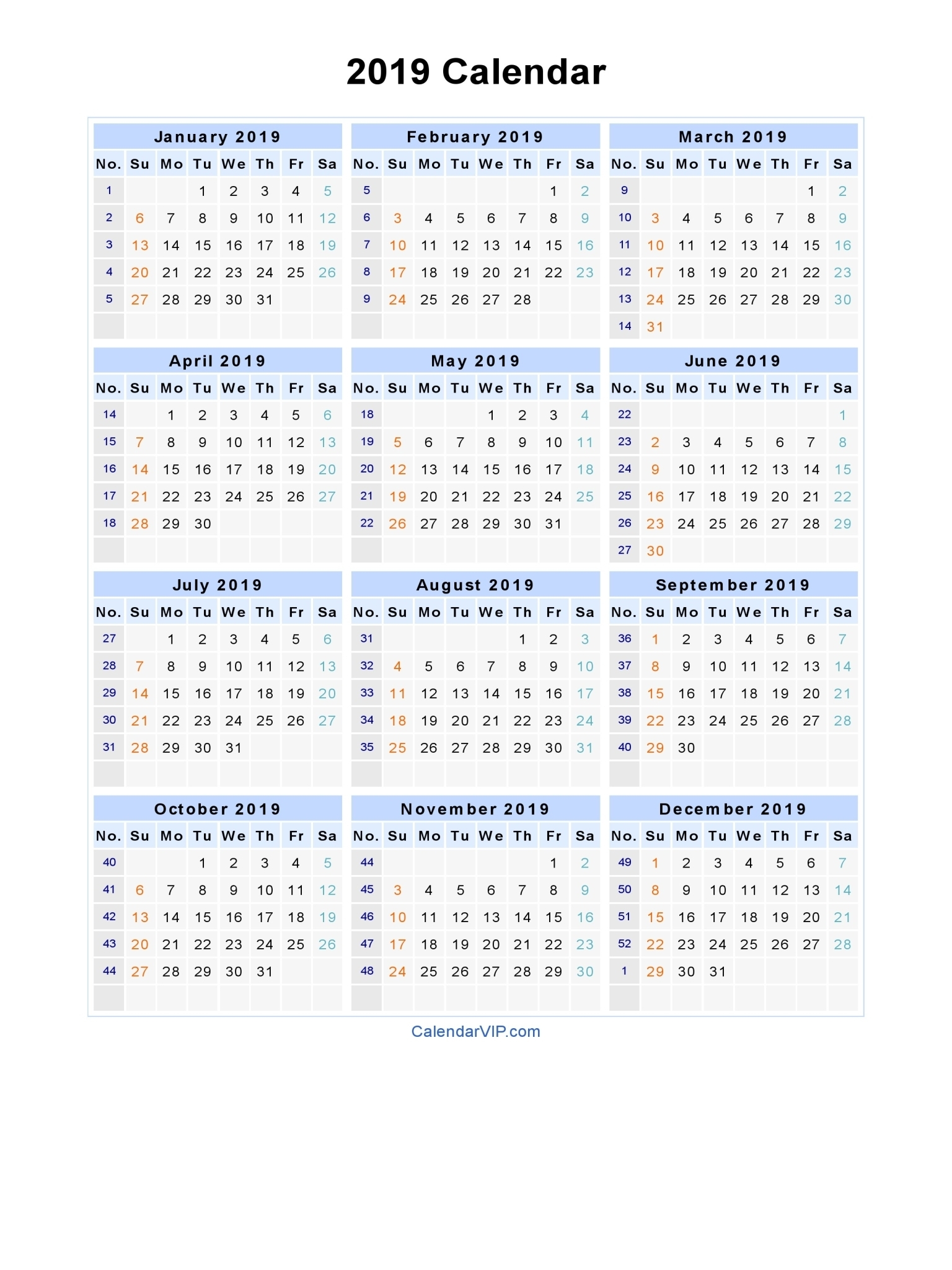 2019 Calendar - Blank Printable Calendar Template In Pdf Word Excel pertaining to 2019 2020 Ms Word Calendar
