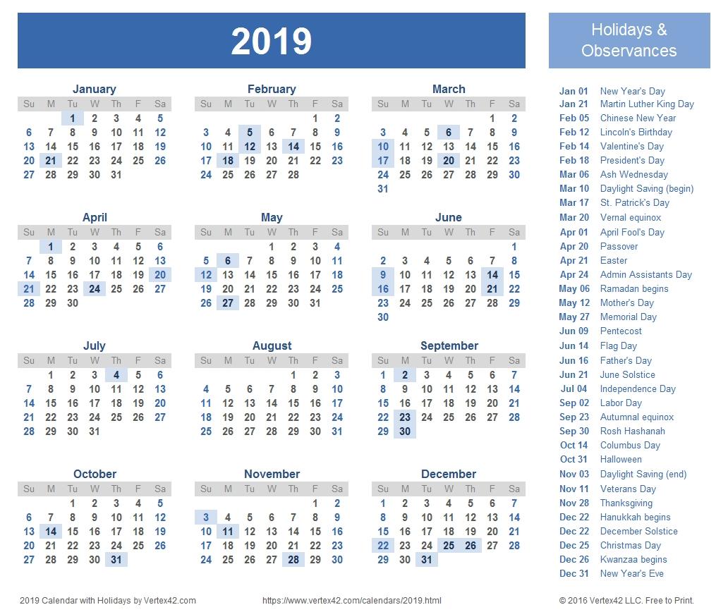 2019 Calendar Templates And Images throughout 2019-2020 Calendar Vertex