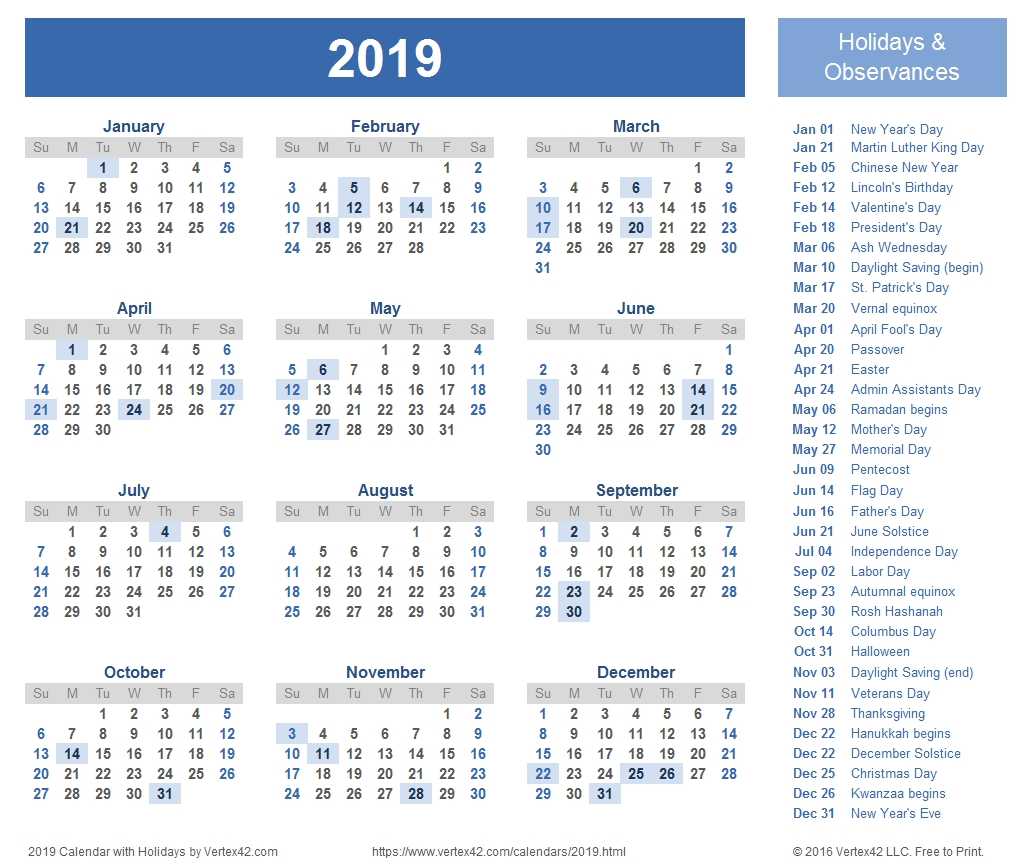 2019 Calendar Templates And Images within 1 Page Calendar 2019-2020 With Major Holidays