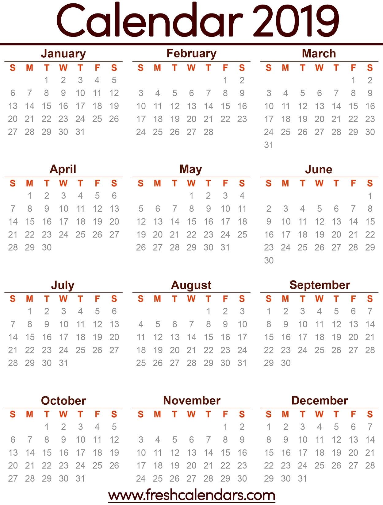 2019 Calendar throughout Calendar April 2019 Thru April 2020, Printable