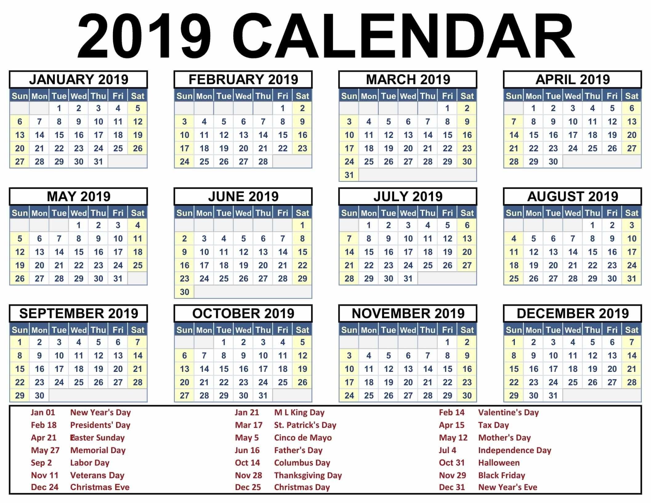 2019 Calendar With Holidays Printable #2019Calendar pertaining to Free Printable Event Calendar Template