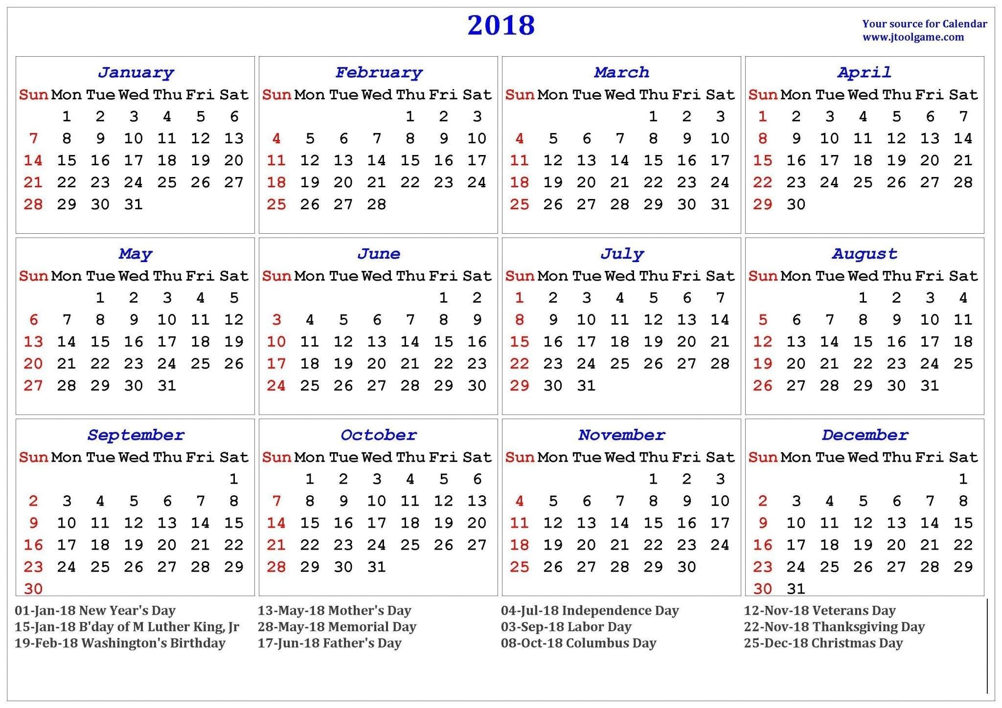 2019 Holidays Usa | Blank November 2018 Calendar | Printable regarding 1 Page Calendar 2019-2020 With Major Holidays