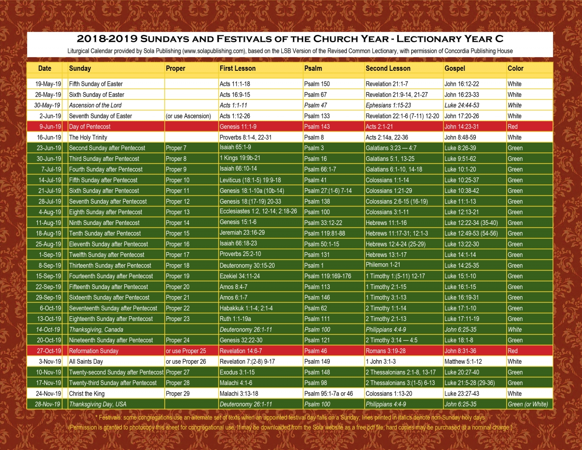 2019 Liturgical Calendar (Year C) K-2019 | Sola Publishing intended for Catholic Liturgical Calendar 2020 Printable