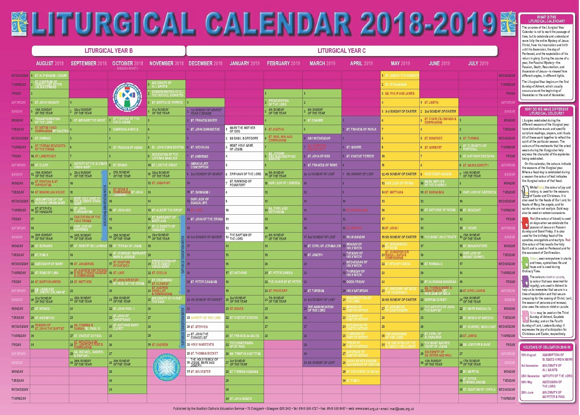 2019 Liturgical Printable Calendar Liturgical Calendar Printable with Printable Catholic Liturgical Calendar 2020