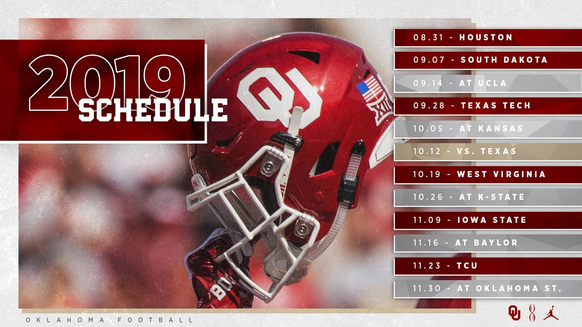 2019 Ou Football Schedule Announced - The Official Site Of Oklahoma with regard to 2019 - 2020 Nfl Schedule Printable