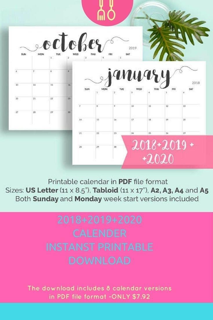 2019 Printable Calendar 2019-2020 Calendar Printable Large Calendar pertaining to Large Calendar 2019/2020