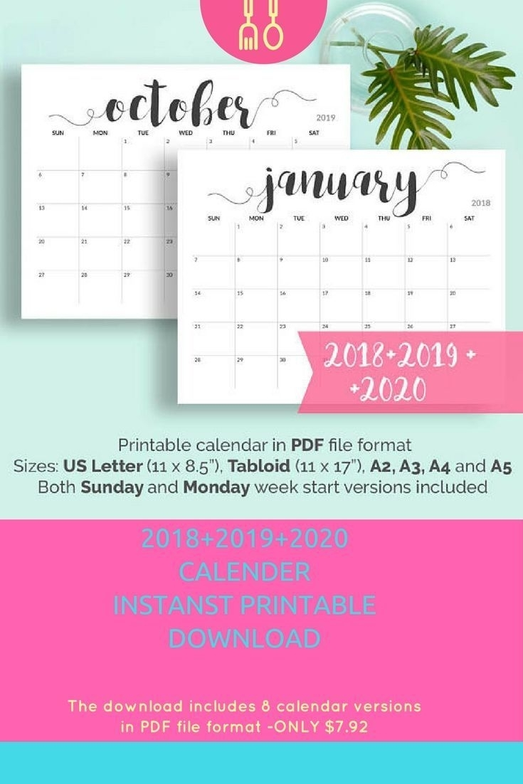 2019 Printable Calendar 2019-2020 Calendar Printable Large Calendar throughout Pretty Printable Calendar 2020 Without Download