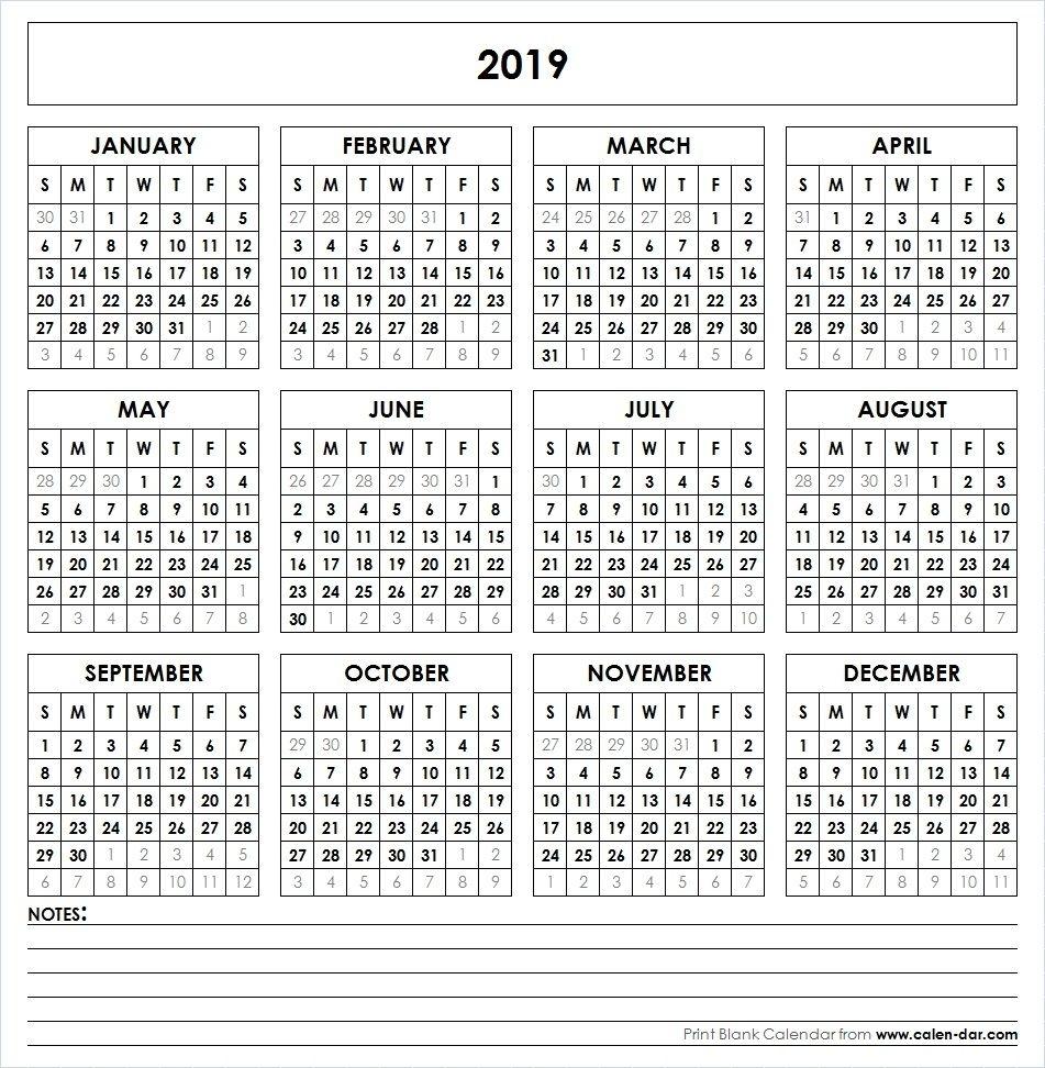 2019 Printable Calendar | Yearly Calendar | Printable Calendar for Printable  Yearly Calendar June 2019-2020