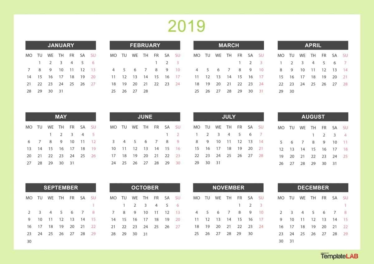 2019 Printable Calendars [Monthly, With Holidays, Yearly] ᐅ in 3 Month Calendars To Print