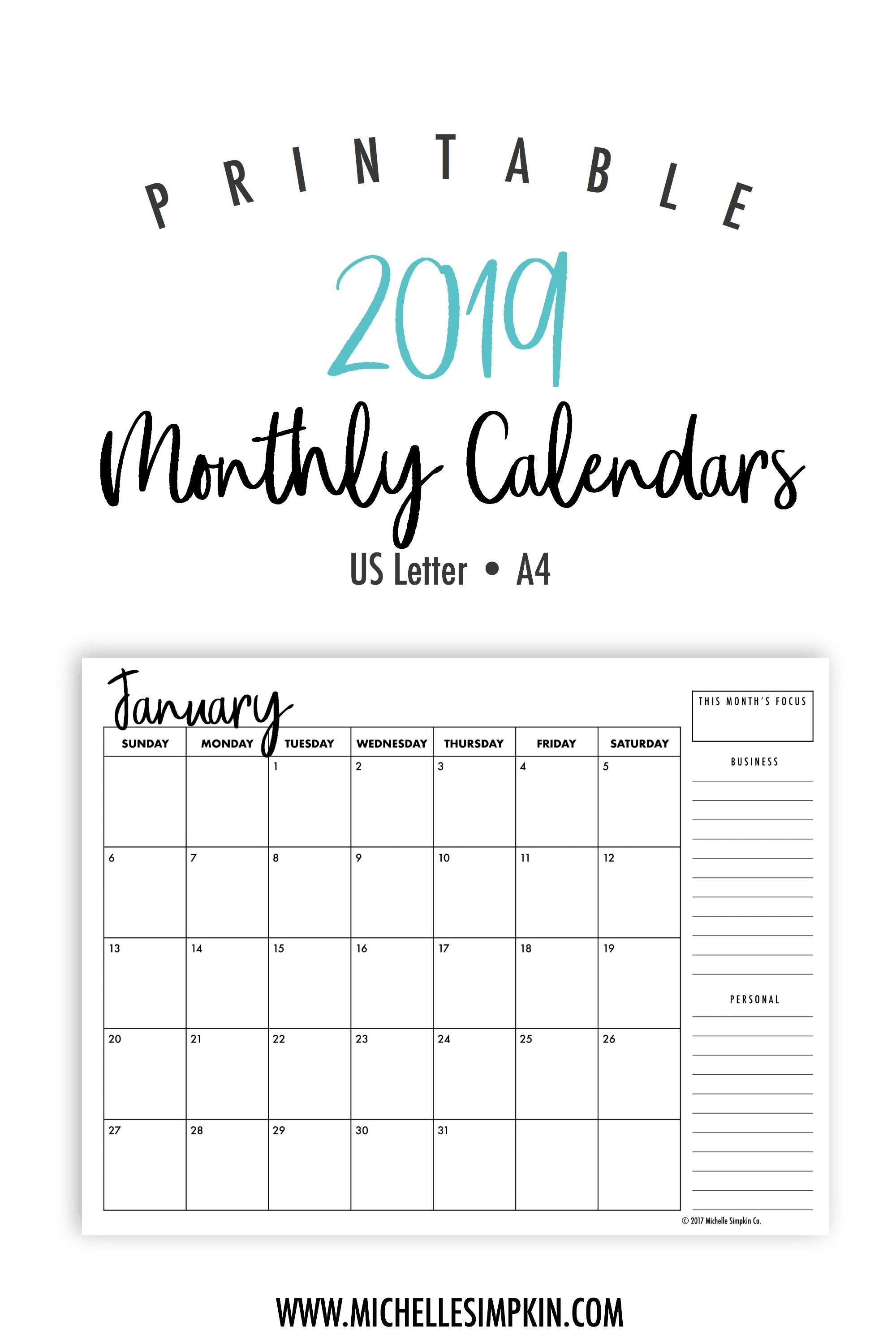2019 Printable Monthly Calendars • Landscape • Us Letter • A4 with regard to Printable Monthly Organiser Pages Monday To Sunday