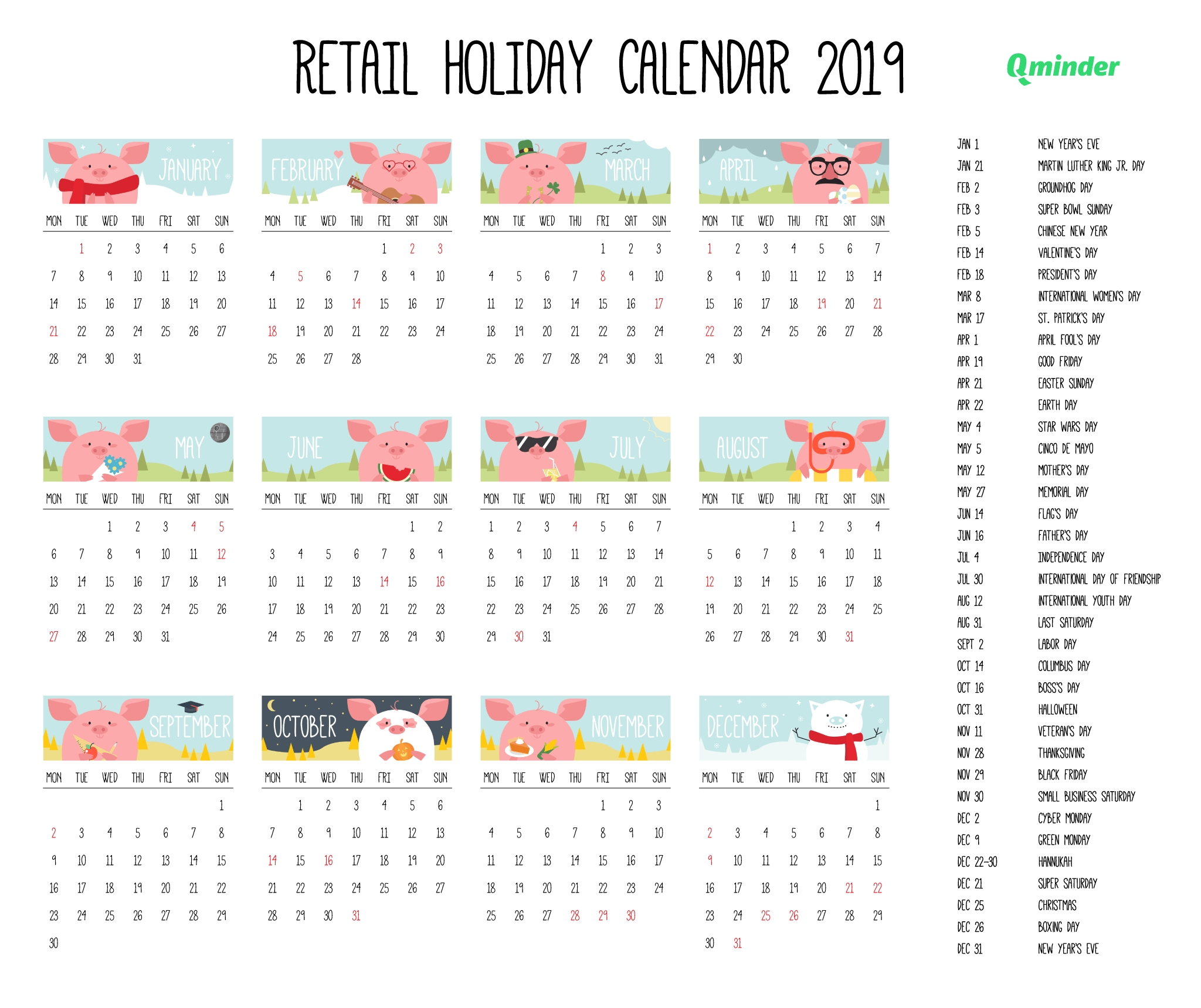 2019 Retail Holiday Calendar | Qminder regarding Retail Calander 2020