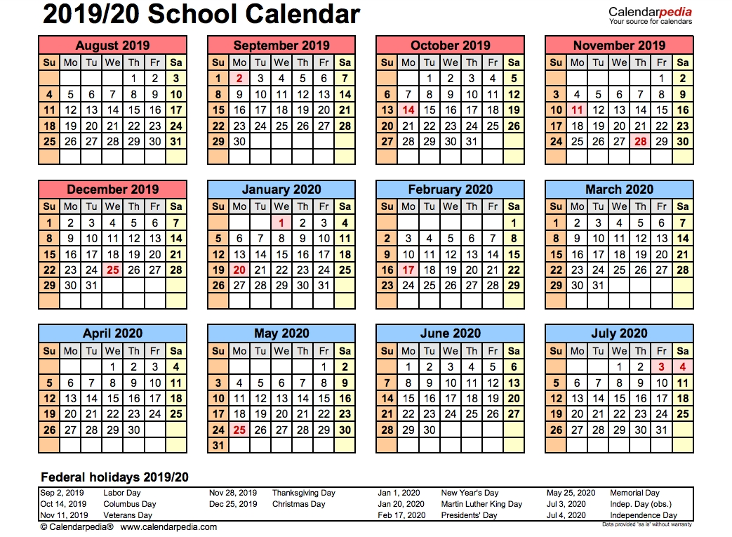 2019 School Calendar Printable   Academic 2019/2020 Templates for Year Long Calendar 2019- 2020 Printable