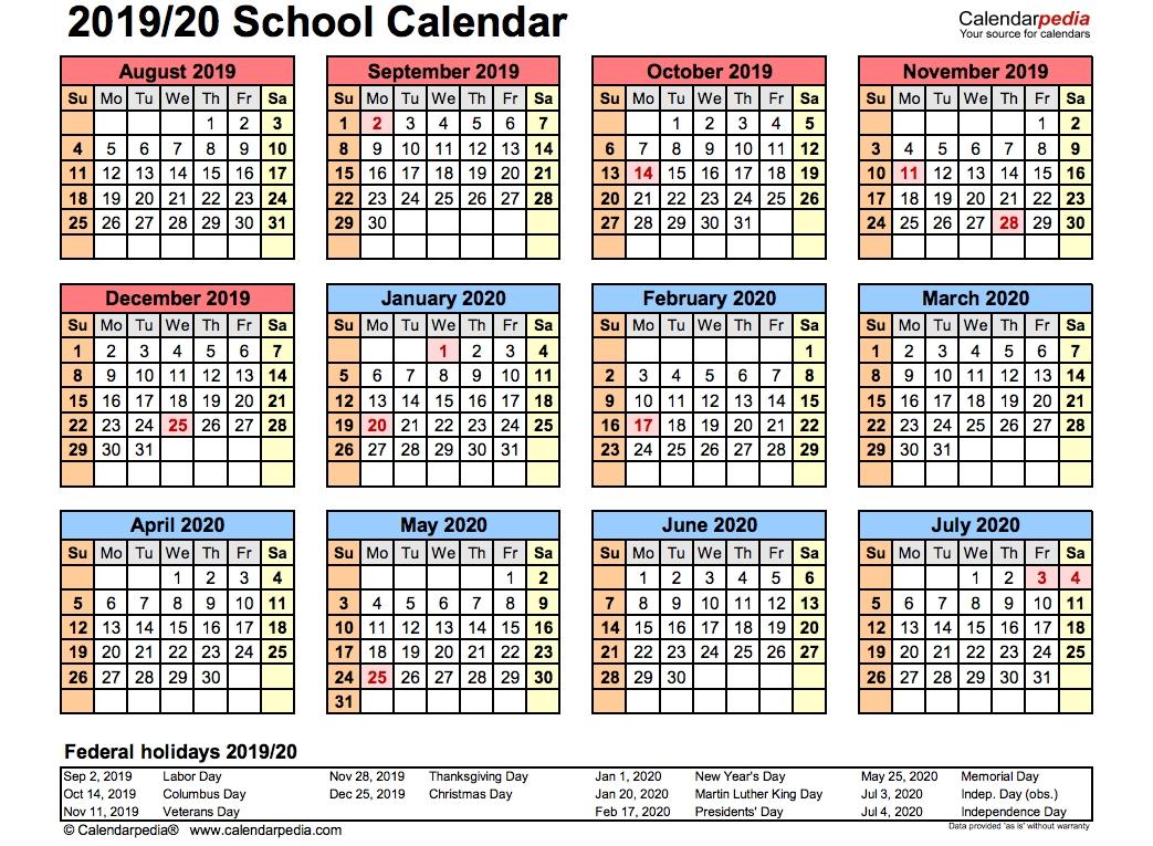 2019 School Calendar Printable | Academic 2019/2020 Templates inside Calander Single Page Printable 2019 2020