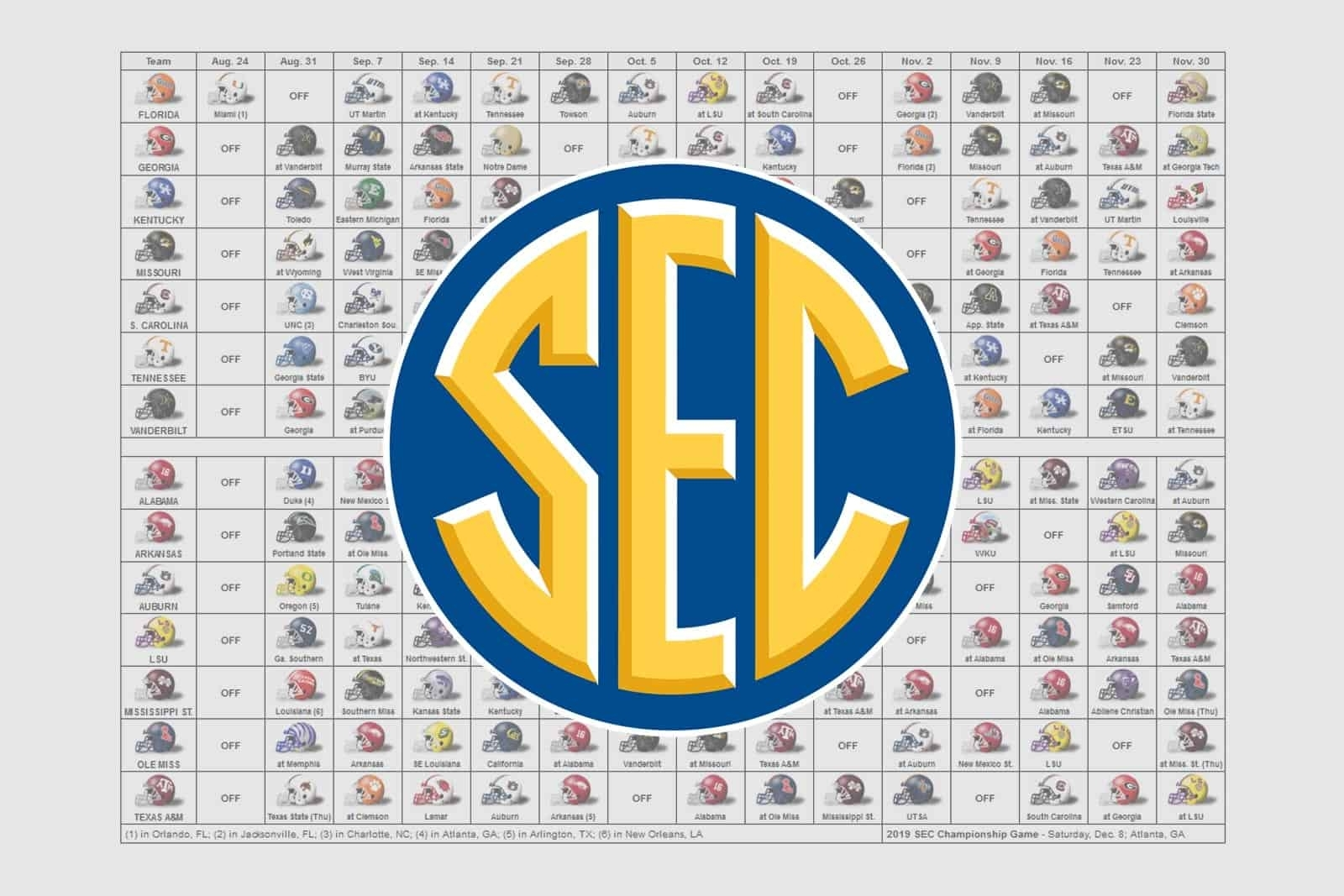 2019 Sec Football Helmet Schedule within 2019-2020 Uga Printable Calendar