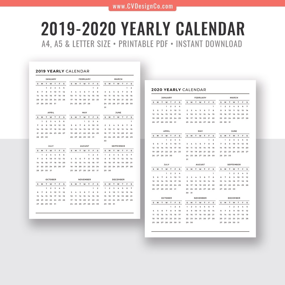 2019 Yearly Calendar And 2020 Yearly Calendar, 2019 – 2020 Yearly in A4 Yearly Calendars For 2019 And 2020