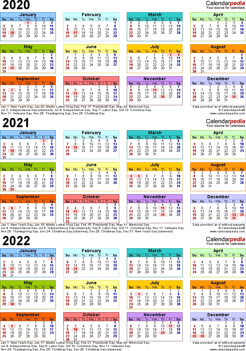 Three Year Calendar 2020 -2023 - Calendar Inspiration Design