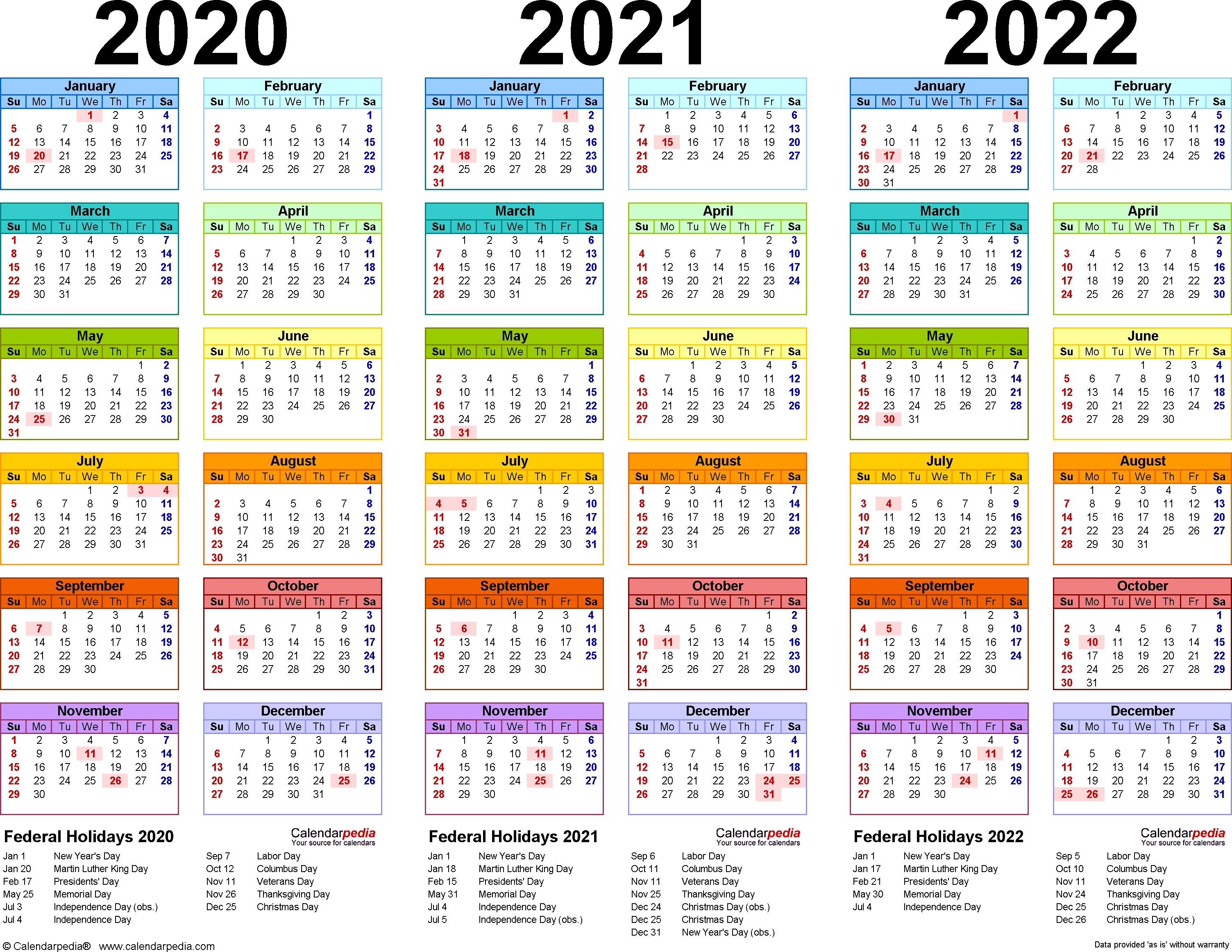 2020/2021/2022 Calendar - 4 Three-Year Printable Word Calendars within Three Year Calendar 2020 -2023