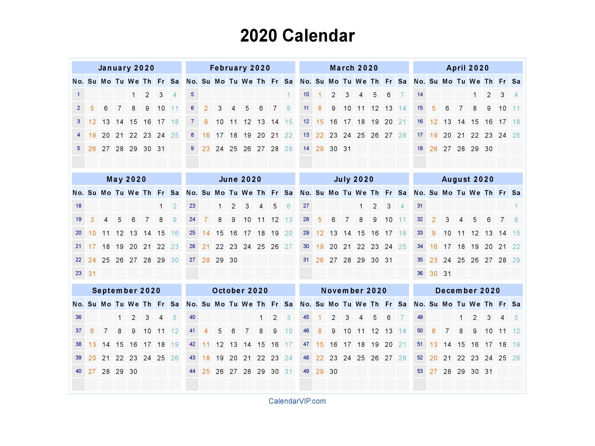 2020 Calendar - Blank Printable Calendar Template In Pdf Word Excel throughout 2020 Calendar With Week Numbers In Excel