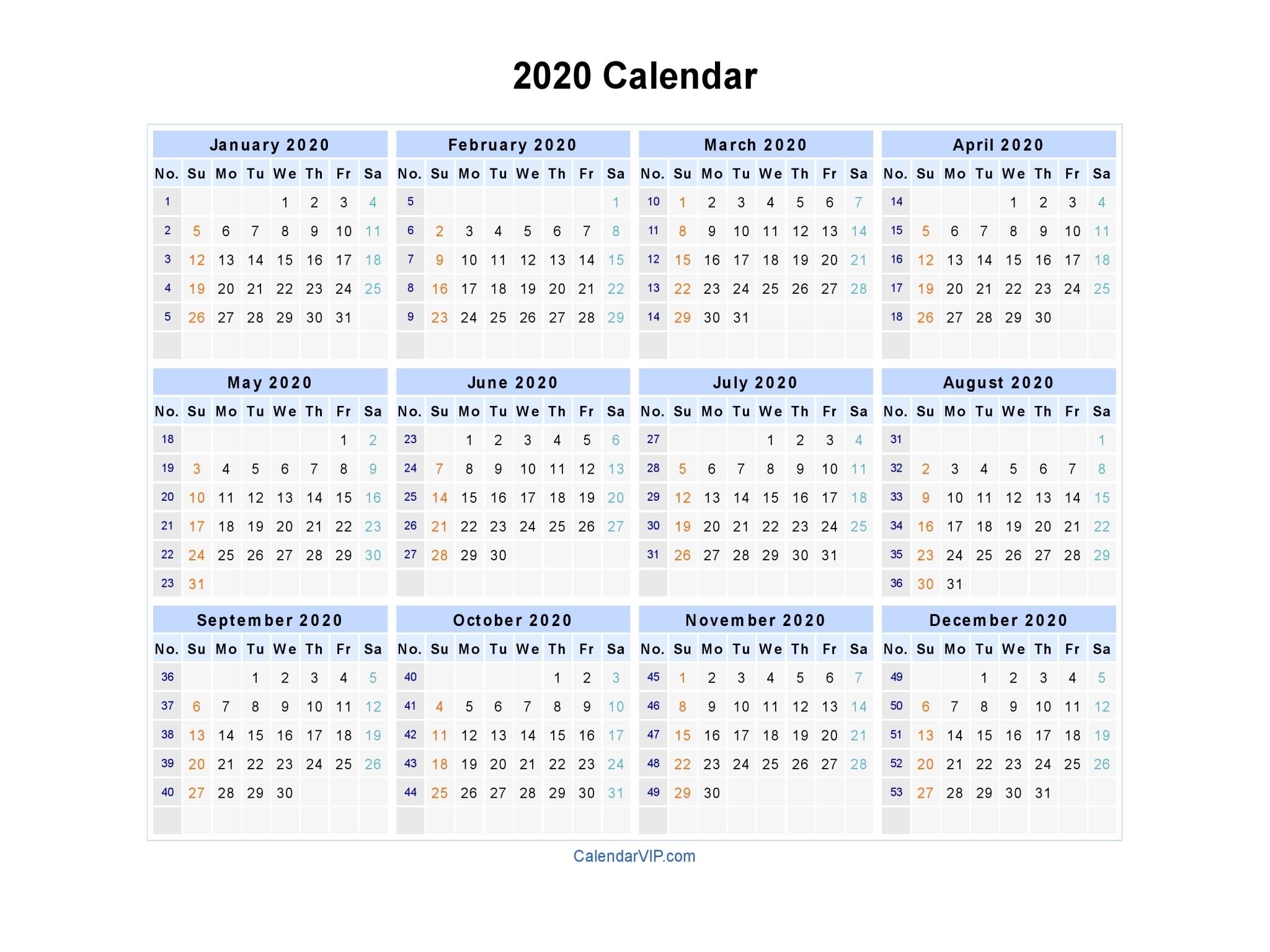 2020 Calendar - Blank Printable Calendar Template In Pdf Word Excel throughout 2020 Calendar With Week Numbers In Excel