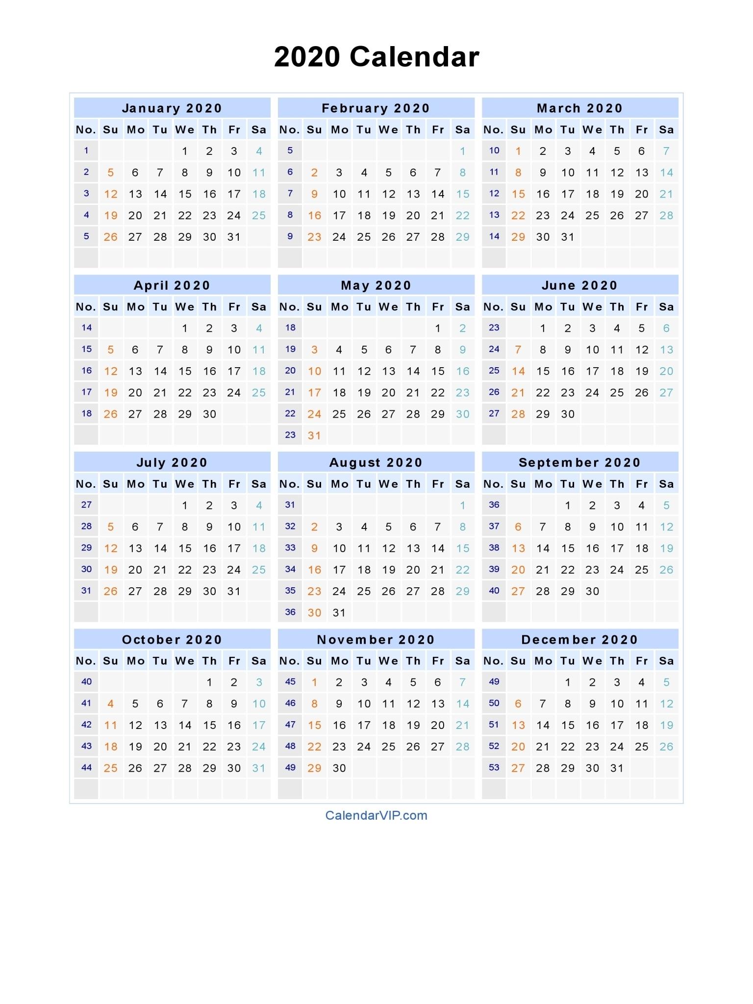 2020 Calendar - Blank Printable Calendar Template In Pdf Word Excel with 2020 Calendar With Week Numbers In Excel
