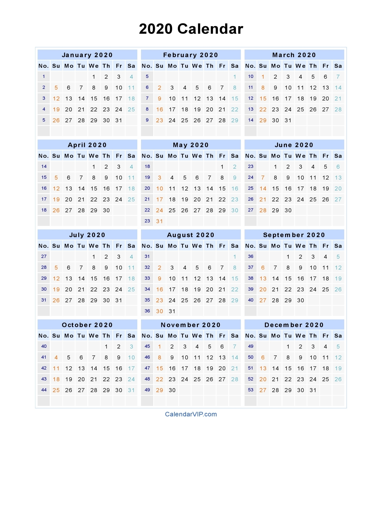 2020 Calendar - Blank Printable Calendar Template In Pdf Word Excel with regard to 2020 Week Wise Calendar
