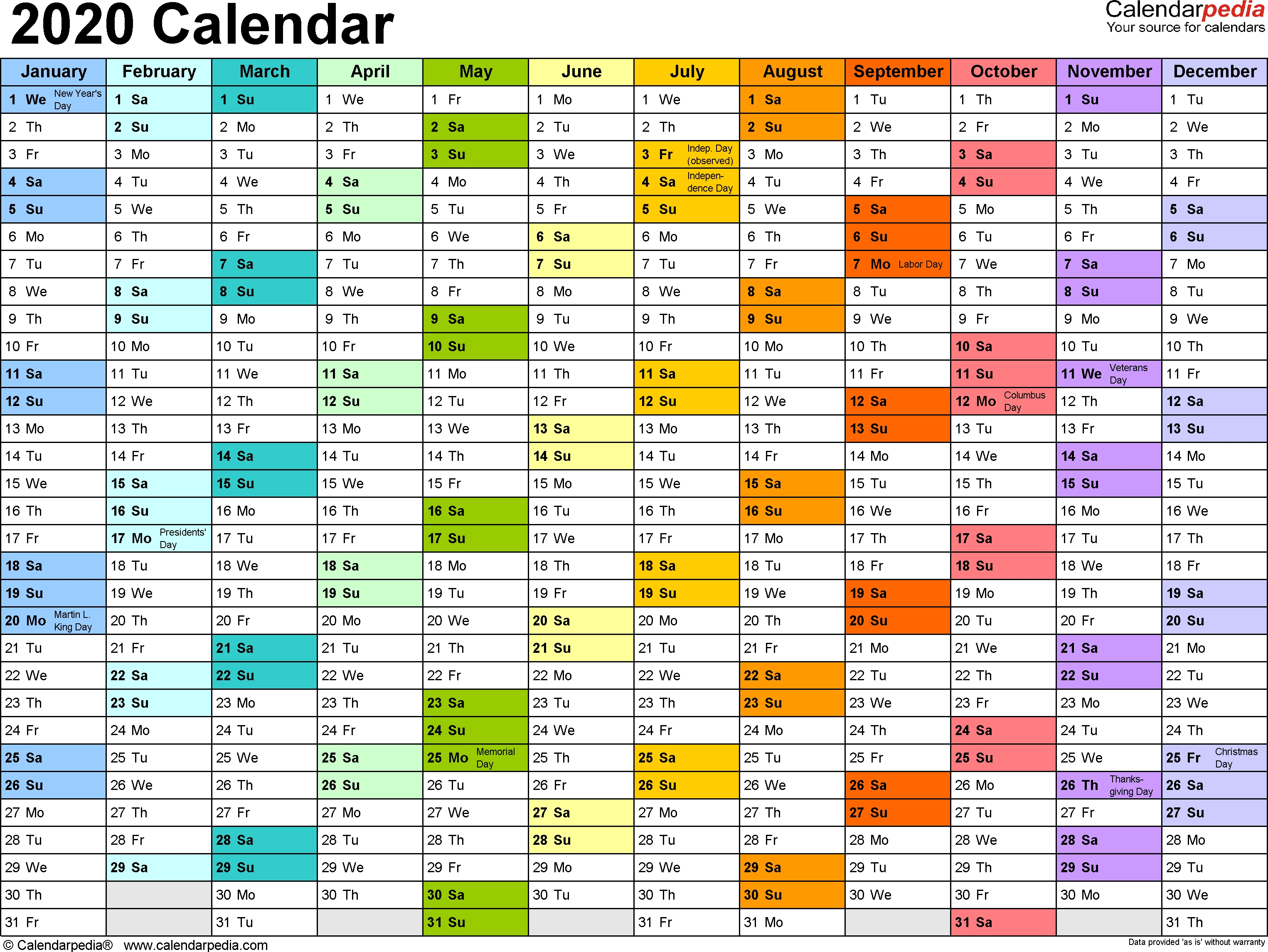 2020 Calendar - Download 17 Free Printable Excel Templates (.xlsx) in Excel Calendar At A Glance 2020