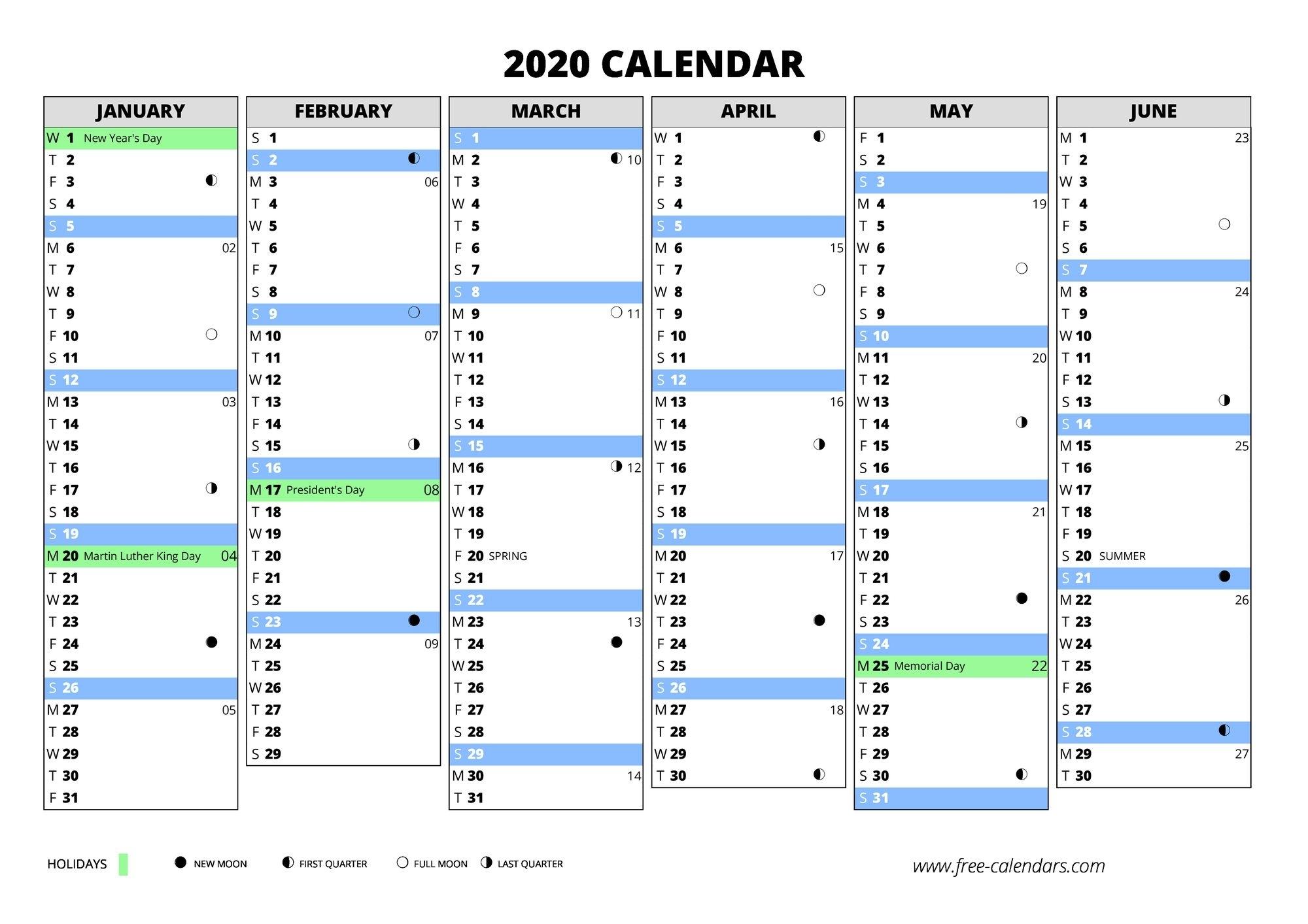2020 Calendar ≡ Free-Calendars for 2020 Calendar With Week Numbers In Excel