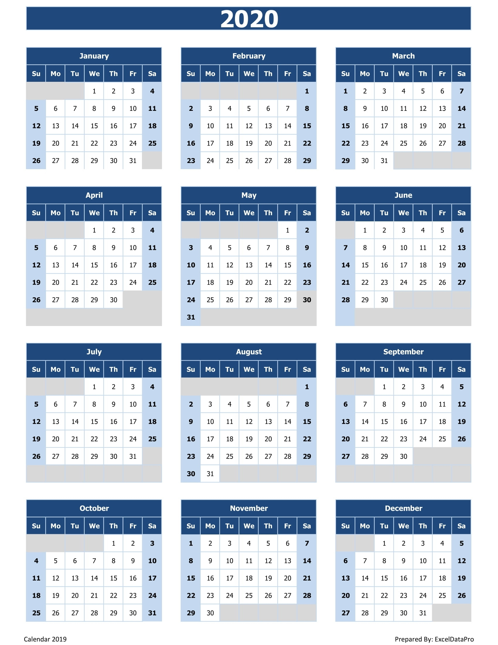 2020 Calendar Excel Templates, Printable Pdfs & Images - Exceldatapro with 2020 Calendar