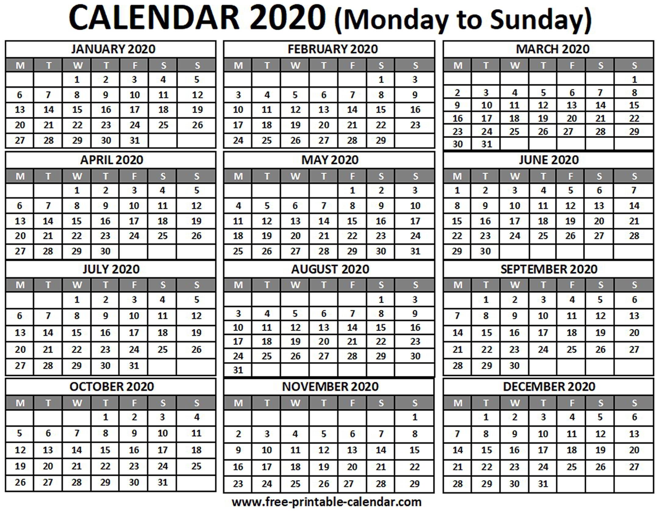 2020 Calendar - Free-Printable-Calendar for 2020 Printable Calendar Free That Start With Monday