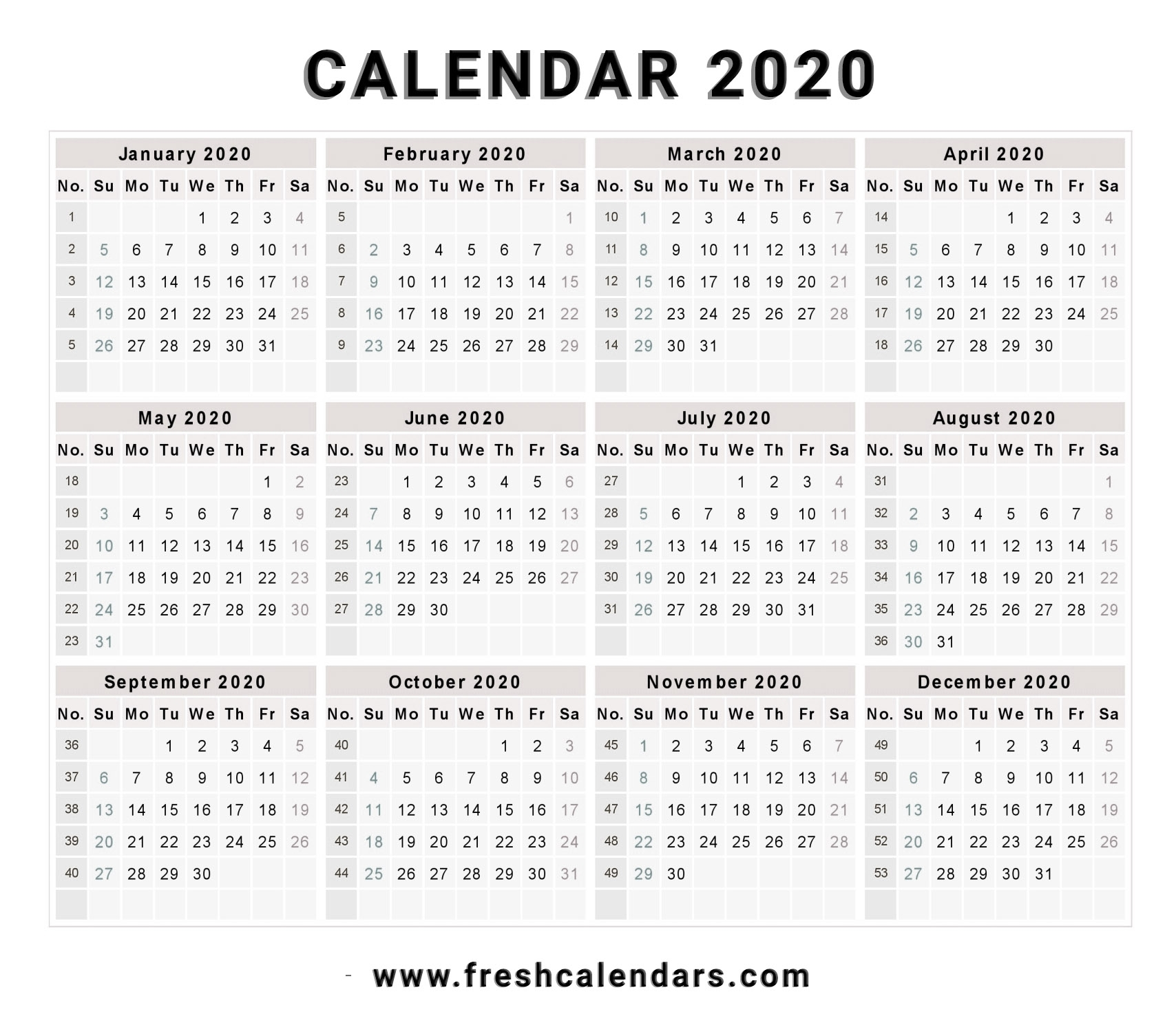 2020 Calendar intended for 2020 Year At A Glance Free Printable Calendar