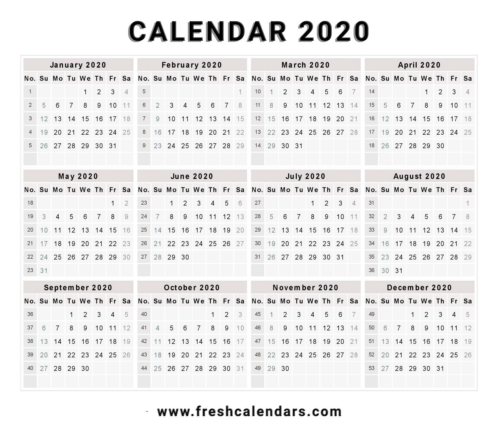 2020 Calendar pertaining to 2020Printable Monday Through Sunday Calendars