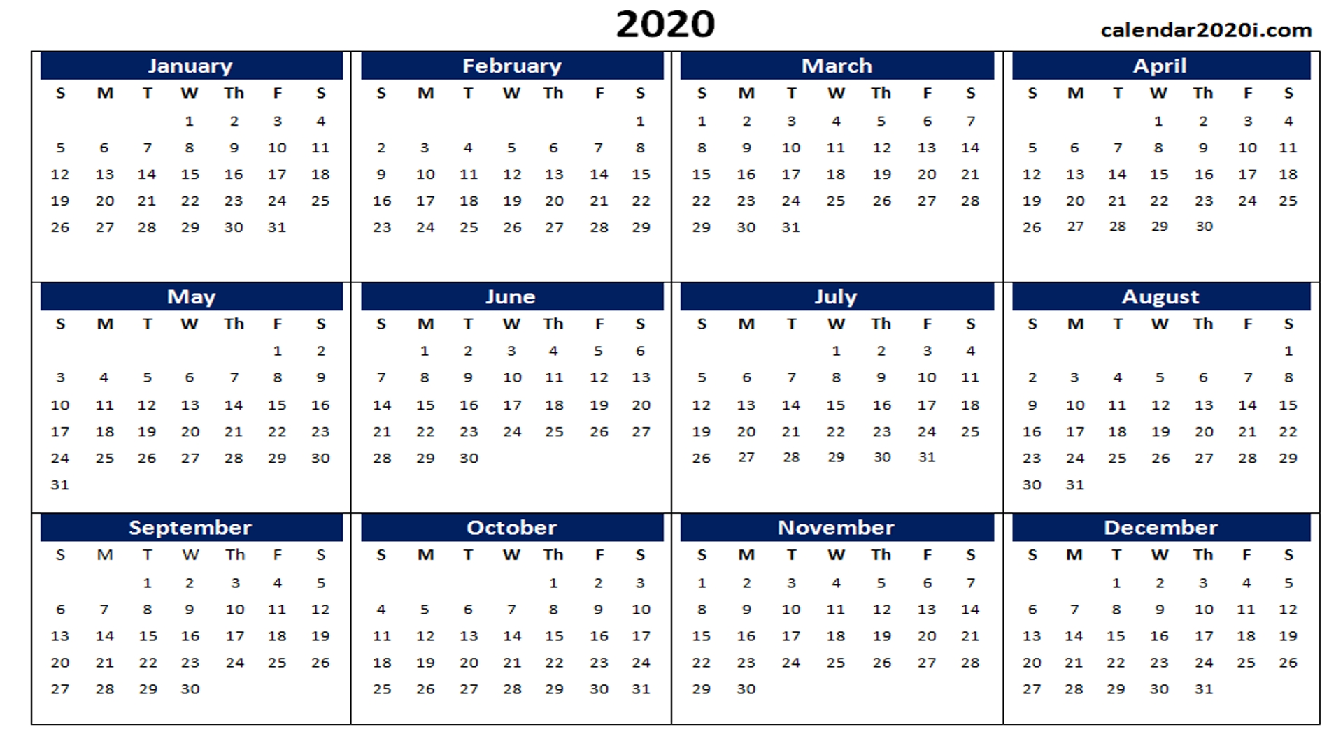 2020 Calendar Printable Template Holidays, Word, Excel, Pdf, Wallpaper for Free Printable Calendar 2020 Motivational