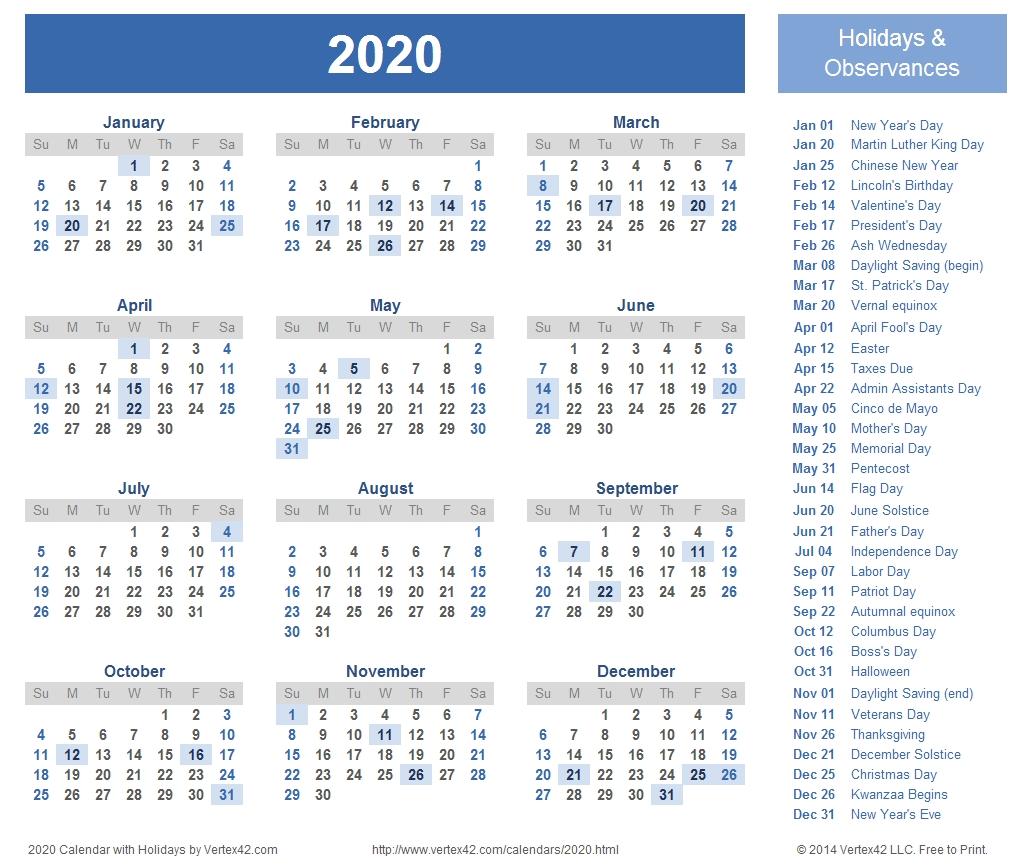 2020 Calendar Prints For Planning! | Planner | Printable Calendar for Printable 8.5 X 11 2020 Calendar