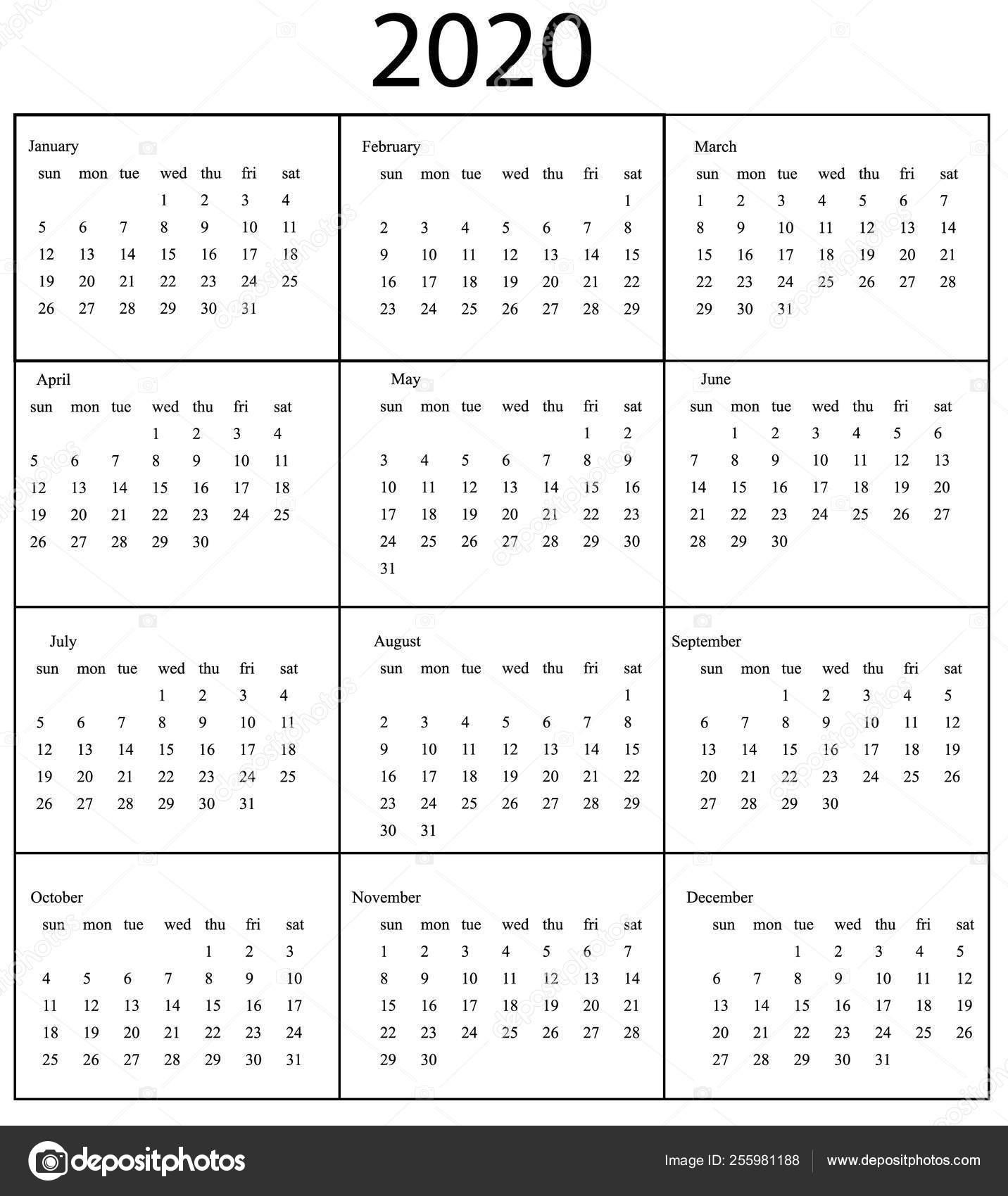 2020 Calendar Template. Starts Sunday — Stock Vector © Bonnyheize throughout 2020 Calendar Monday To Sunday