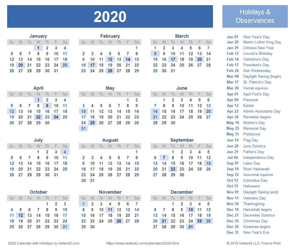 2020 Calendar Templates And Images regarding 2020 Year At A Glance Free Printable Calendar
