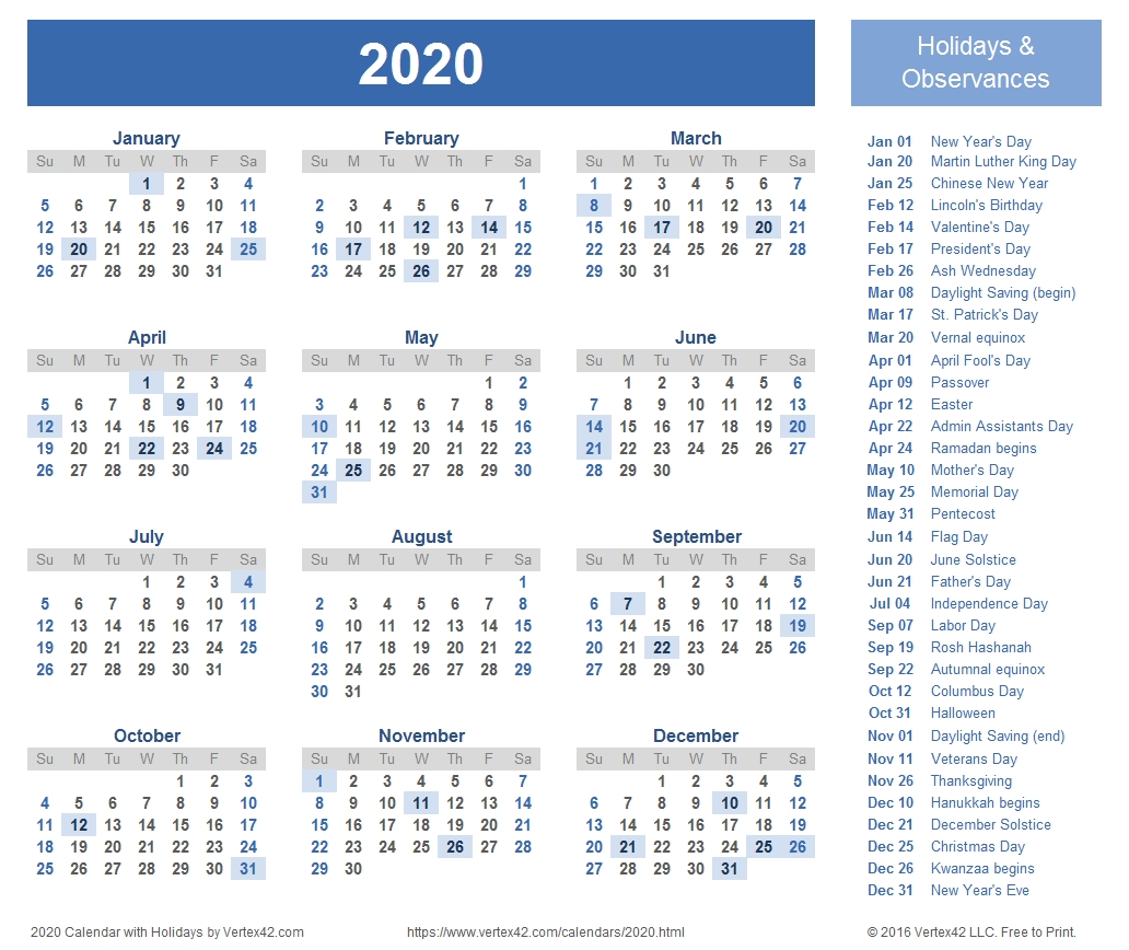 2020 Calendar Templates And Images throughout 2020 Printable Year At A Glance Calendar