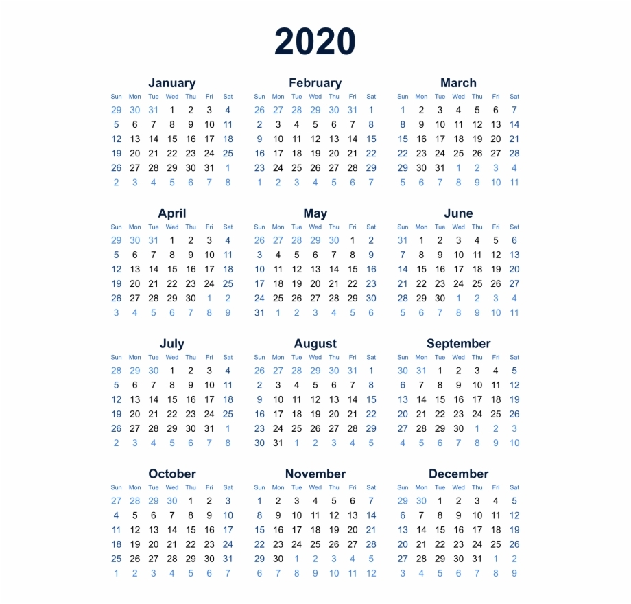 2020 Calendar Transparent Background Png - Year At A Glance Calendar with Year At A Glance 2019-2020