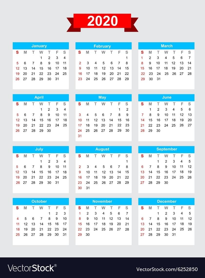 2020 Calendar Week Start Sunday Royalty Free Vector Image throughout 2020 Calendar Monday To Sunday