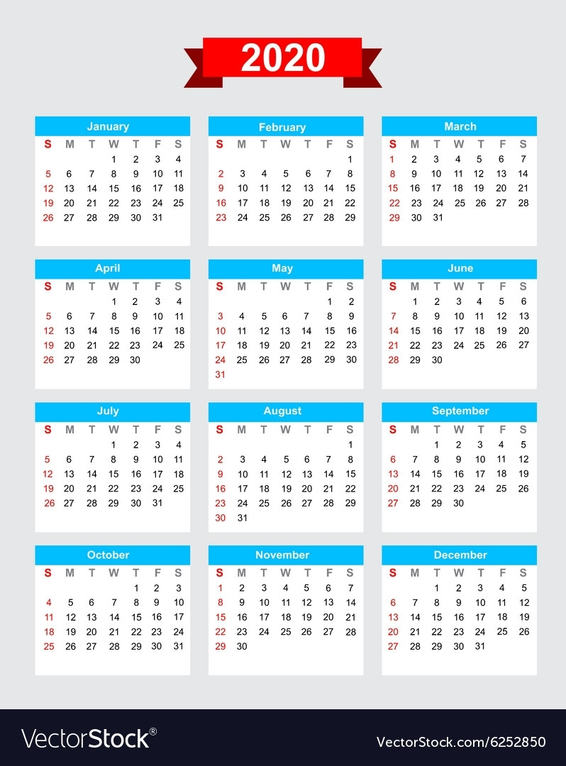 2020 Calendar Week Start Sunday Royalty Free Vector Image throughout 2020 Calendar Starting With Monday