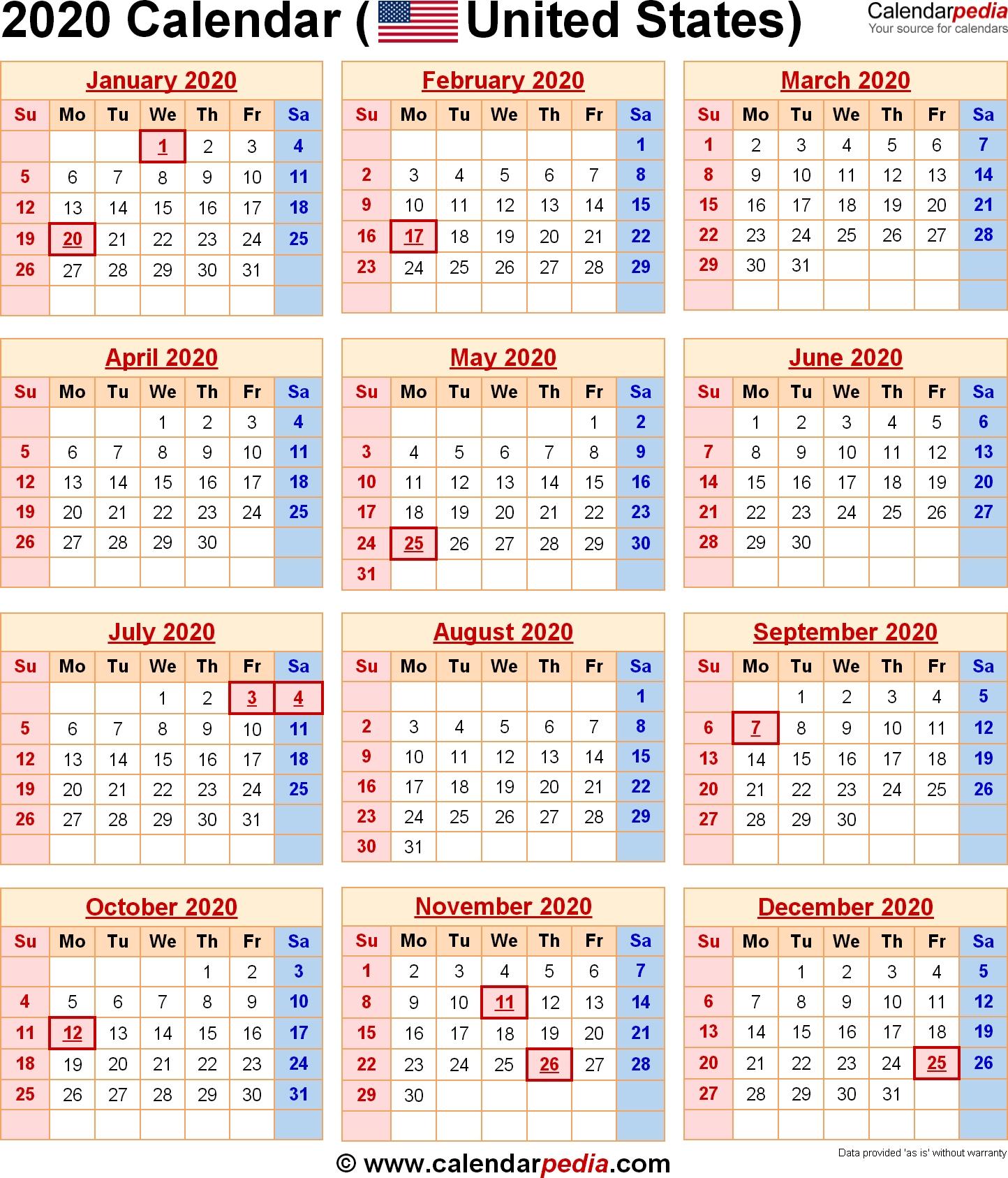 2020 Calendar With Federal Holidays & Excel/pdf/word Templates inside National Day Calendar 2020 Printable